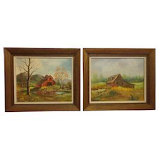 Pair of Minnie Wonsmos Oil Original Paintings Farmhouse and Barn Country Decor
