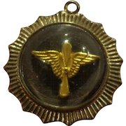 WWII US Army Air Corps Sweetheart Pendant Sterling Silver & Acrylic Domed Necklace