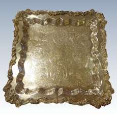 Gorgeous Rare Square American Silverplate Tray by Sheridan Co. Footed Tea Coffee Serving Silver Plate