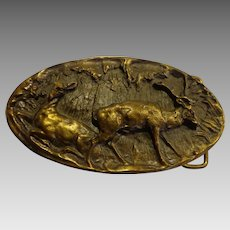 Beautiful Vintage Adezy Denver Bronze Deer Belt Buckle Heavy Relief