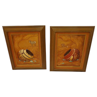 Set of 2 Roger & Marie Kull Native American Leather Tooled Sculpted Southwest Indian Art