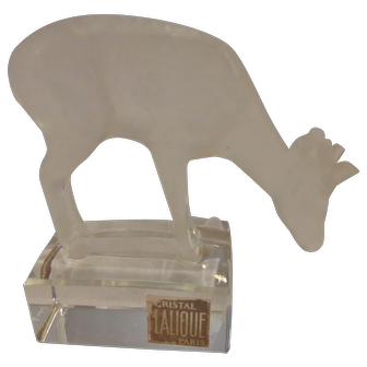 Lalique France Frosted Crystal Fawn Deer Paperweight Signed with Original Label Glass