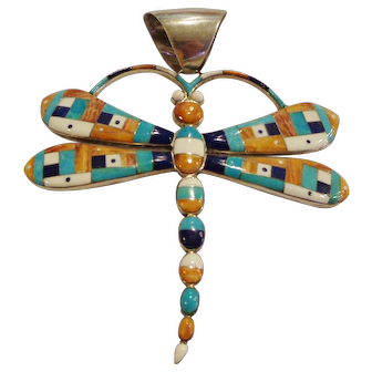 Fabulous Dragonfly Zuni Sterling Pendant Native American Turquoise Lapis Inlay Western Heirloom