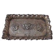 Art Nouveau Antique Edwardian Sterling Silver Angel Tray Repousse Three Cherubs English