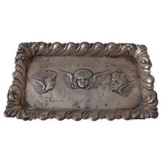 Art Nouveau Antique Edwardian Sterling Silver Angel Tray Repousse Three Cherubs English