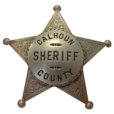 Rare Calhoun County Texas Sheriff Badge 1940s Vintage Police