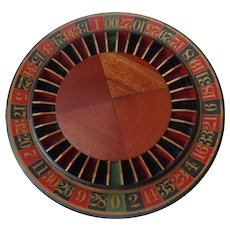 Antique Mahogany Table Top Roulette Wheel