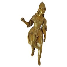 Antique French Gilded Clock Figurine of Minerva or Joan of Arc Victorian Design