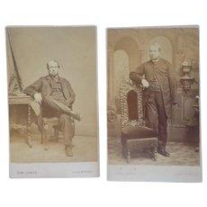 Antique CDV Set of an Amputee Soldier or Sea Captain Victorian British English Carte de Viste