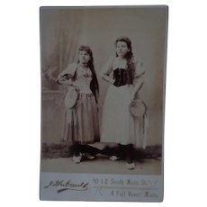 Rare Antique Cabinet Photo American Immigrant Gypsy Sisters with Tambourines