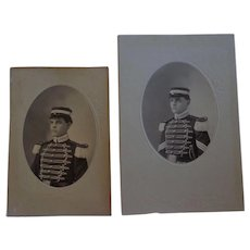 Antique Cabinet Photo Set of a Military Cadet as a Freshman and as a Senior Indian Wars Era Militia