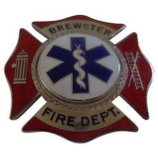 Vintage EMT Badge from Brewster Massachusetts by Blackinton Fireman
