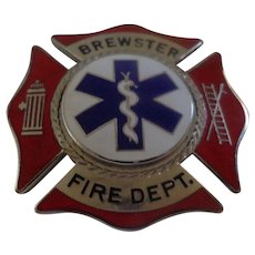 Vintage EMT Badge from Brewster Massachusetts by Blackinton Fireman