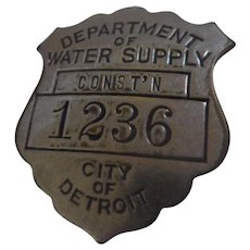 Vintage Department of Water Supply City of Detroit Employee Badge