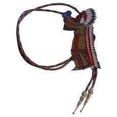Nice Rare Indian Chief Bolo Tie Masonic Shriners El Zaribah Phoenix AZ Cowboy