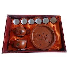 Chinese Zisha (Yixing?) Red / Purple Clay Tea Set Ceremonial Teapot 9 Pieces
