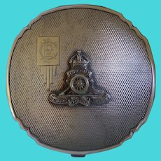 Rare British Sterling Silver Military Compact Royal Regiment of Artillery c 1934