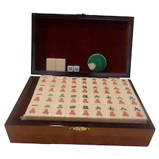 Vintage Mah Jongg Set Midsize for Travel or at Home with Wooden Box Jong