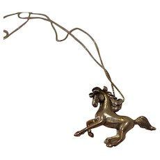 Vintage Sterling Silver Stallion Mustang Horse Pendant with Sterling Box Chain