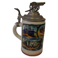 Antique WWI Regimental German Beer Stein Artillery Unit  Bavaria
