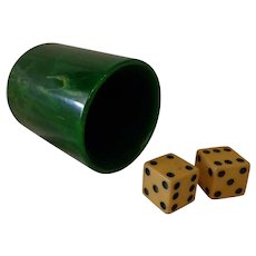 Beautiful Vintage Green Bakelite Dice Cup with Pair of Dice Gaming Accessory