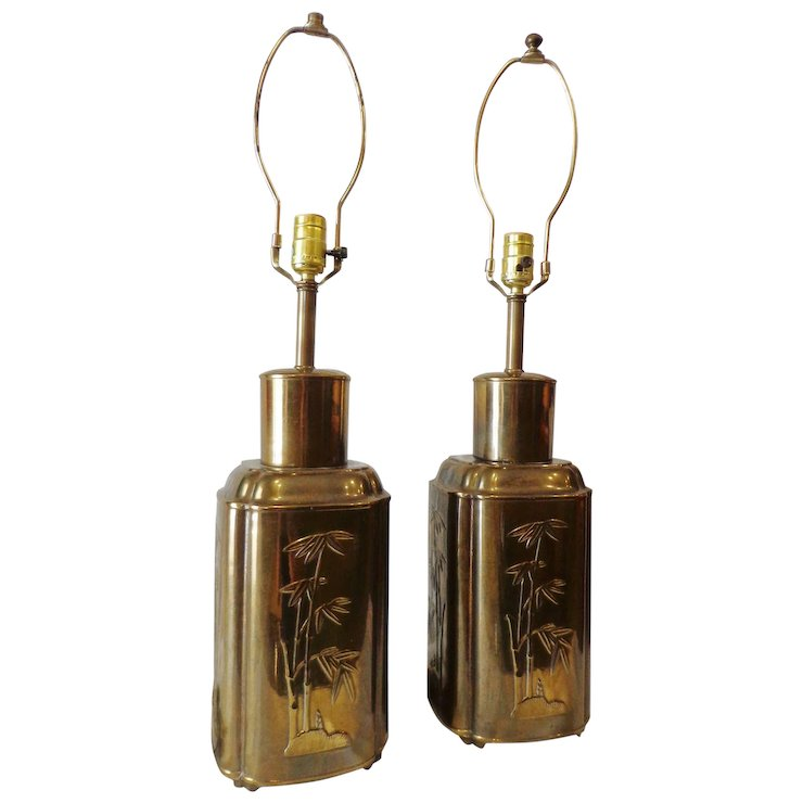 Outstanding Pair Of Chinese Brass Ginger Jar Table Lamps Vintage Hollywood Regency Tea Canister Asian