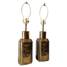 Outstanding Pair of Chinese Brass Ginger Jar Table Lamps Vintage Hollywood Regency Chinese Tea Canister Asian