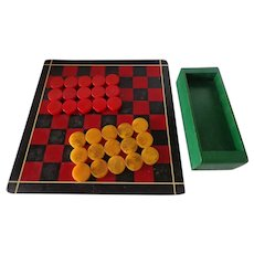 Vintage 1930s Checkers Set with Red & Butterscotch Bakelite Pieces Game