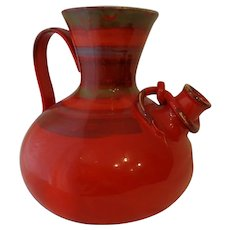 Gorgeous Vintage Red Italian Pitcher Ceramic 1970s  Venetian Style