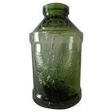 Huge Rare Vintage 1976 5 Gallon Eagle Embossed Bicentennial Green Glass Jar Libbey