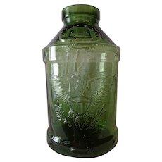 Huge Rare Vintage 1976 5 Gallon Eagle Embossed Bicentennial Green Glass Jar Libbey