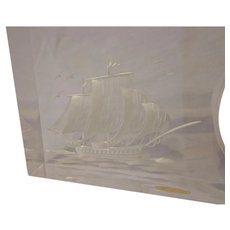 Vintage Chinese 1970s Carved Acrylic Whaling Ship Desk Clock Nautical Retro