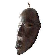 Old African Tribal Mask with Rare Signature Wooden Slit Ceremonial Authentic Dark Continent
