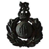 Rare Bakelite Royal Marine Cap Insignia British WWII A Stanley & Sons Maker