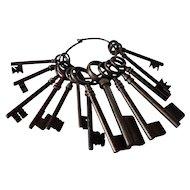Rare Antique Set of Jailer Keys Victorian Police Old West American 14 Keys