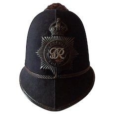 Vintage 1930s British Police Bobby Hat Very Nice Condition with Badge George VI
