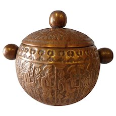 Antique Persian Copper Humidor Masculine Warrior Design