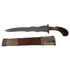 Vintage Philippine Moro Punal Dagger Knife Gunong Kris Punyal Mindanao