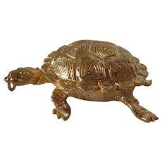 Large Vintage Snapping Turtle Locket Pillbox Pendant Tortoise