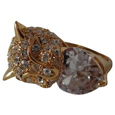Gorgeous Encrusted Leopard Cocktail Ring with Heart Shaped Zirconia  Statement