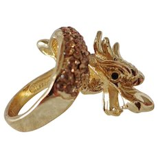 Lucky Dragon Cocktail Ring with Champagne Zirconia New Condition