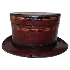 Fabulous Rare Art Deco Leather Covered Top Hat Box Italy