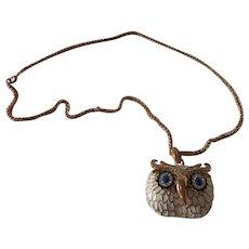 Large Vintage Kenneth J Lane Enamel Owl Pendant / Necklace
