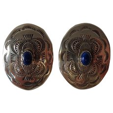 Vintage Handmade Sterling Silver & Lapis Navajo Concho Earrings American Indian Craftsman