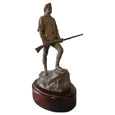 Vintage Late 50s Early 60s Pewter Minuteman Patriotic Figurine Sculpture Revolutionary War