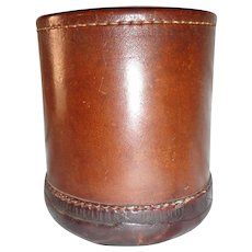 Nice Art Deco Leather Dice Cup Table Gaming Vintage
