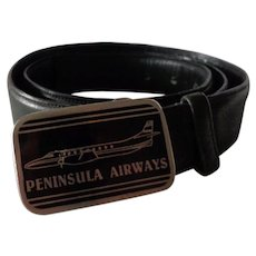 Vintage Peninsula Air Alaska Airline Pilot Belt & Buckle Penair Aviation Collectible