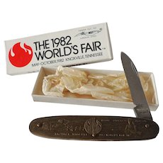 Vintage 1982 World's Fair Pocket Knife in Box Space Shuttle Tennessee