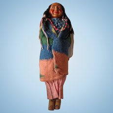 Older American Indian Doll Mother with Papoose Baby Lovely Condition Skookum