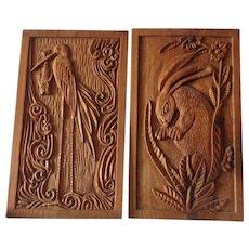 Nice Midcentury Mid Century Pair of Chinese Carved Teak Panels Crane Heron & Rabbit